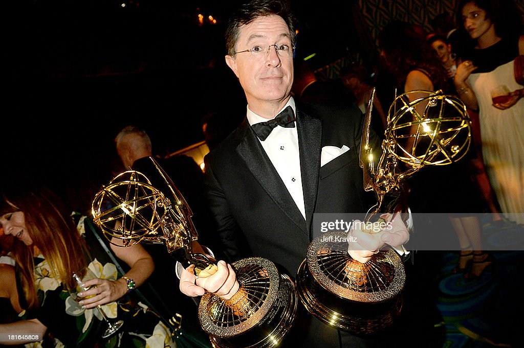 Tv personality <a gi-track='captionPersonalityLinkClicked' href=/galleries/search?phrase=Stephen+Colbert&family=editorial&specificpeople=215133 ng-click='$event.stopPropagation()'>Stephen Colbert</a> attends HBO's official Emmy after party in The Plaza at the Pacific Design Center on September 22, 2013 in Los Angeles, California.