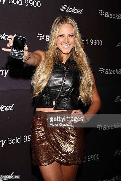 Tv personality Vanessa Huppenkothen attends the BlackBerry Bold 9900 launch at Roma Norte on October 18 2011 in Mexico City Mexico