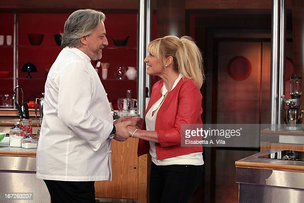 Tv presenter Antonella Clerici and Italian chef Davide Scabin attend 'La Terra dei Cuochi' TV Show photocall at Dear RAI Studios on April 23 2013 in...