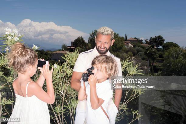 Tv presenter Cyril Hanouna is photographed with his children whilst on holiday for Paris Match on August 11 2017 in Cannes France