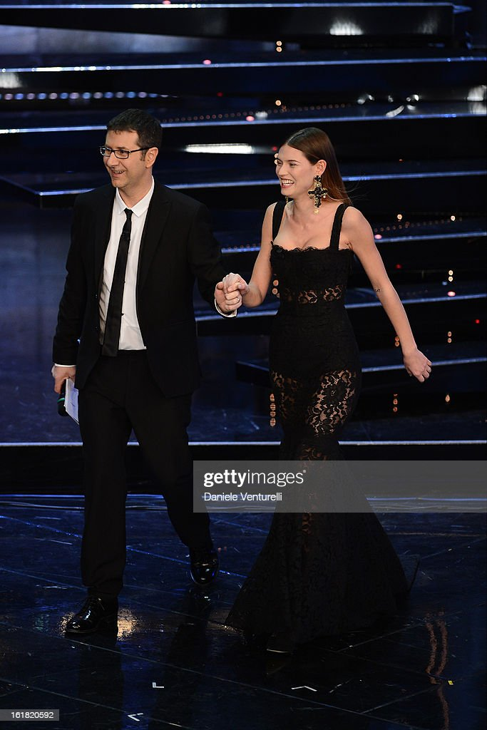 Tv Presenter Fabio Fazio and model Bianca Balti attend the closing night of the 63rd Sanremo Song Festival at the Ariston Theatre on February 16, 2013 in Sanremo, Italy.
