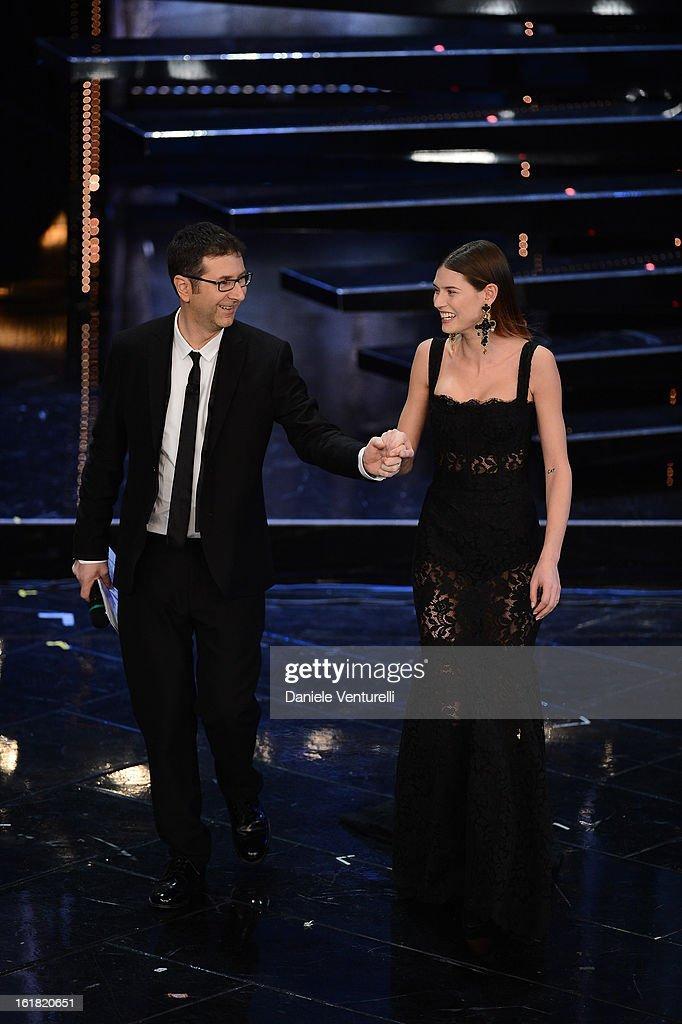 Tv Presenter Fabio Fazio and model Bianca Balti attend the closing night of the 63rd Sanremo Song Festival at the Ariston Theatre on February 16, 2013 in Sanremo, Italy.