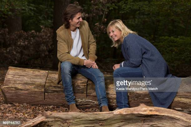 Tv presenter Flavie Flament is photographed with her son Antoine for Paris Match on October 10 2017 in BoulognesurMer France