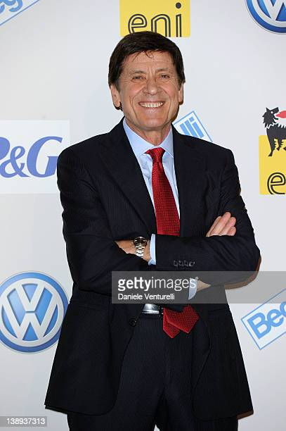Tv presenter Gianni Morandi attends a photocall during the day 1 of the 62th San Remo Song Festival 2012 on February 14 2012 in San Remo Italy