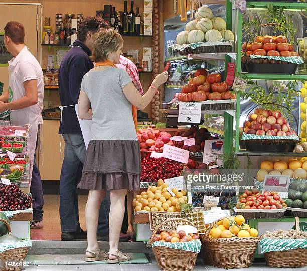 Tv presenter Mercedes Mila is seen going for shopping at Fruteria Vazquez on June 19 2012 in Madrid Spain