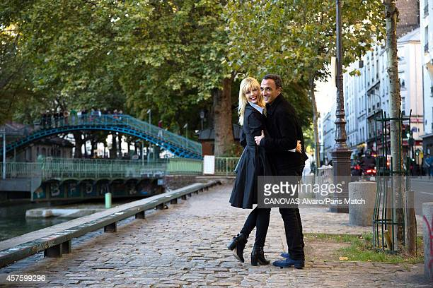 Tv presenter Nikos Aliagas and his wife Tina Grigoriou are photographed for Paris Match on October 10 2014 in Paris France