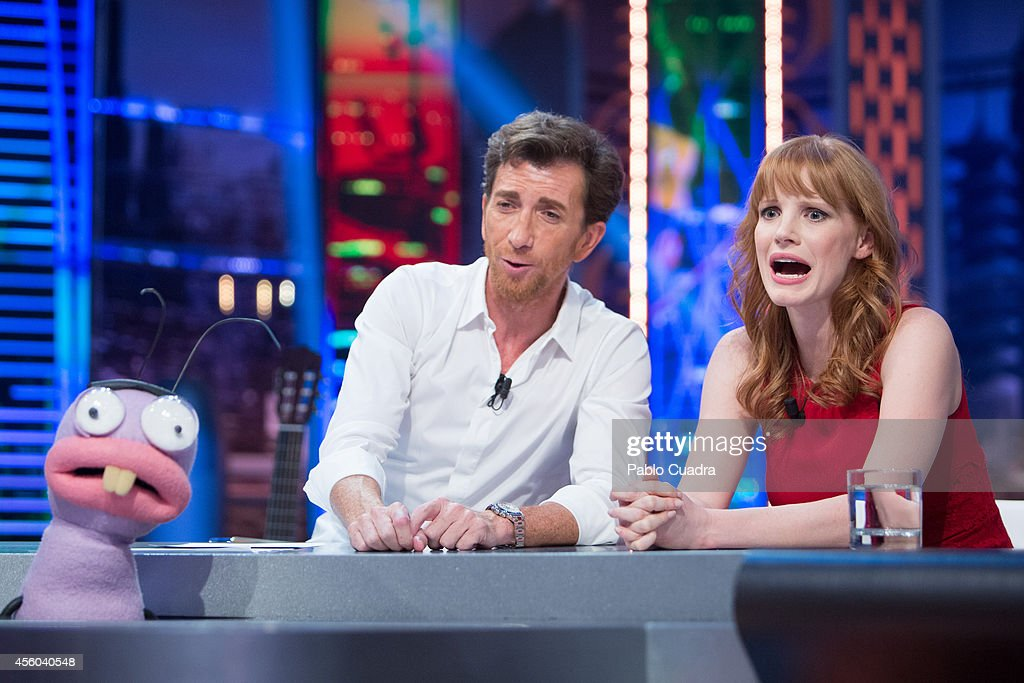 Tv presenter Pablo Motos and actress Jessica Chastain attend 'El Hormiguero' tv show at Vertice Studio on September 24 2014 in Madrid Spain