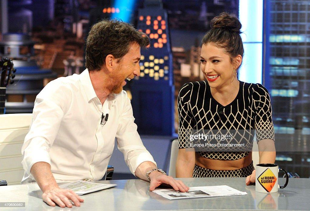 Tv presenter Pablo Motos and actress Ursula Corbero attend 'El Hormiguero' Tv show on April 21 2015 in Madrid Spain