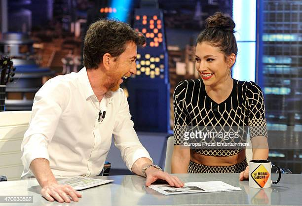 Tv presenter Pablo Motos and actress Ursula Corbero attend 'El Hormiguero' Tv show on April 21 2015 in Madrid Spain