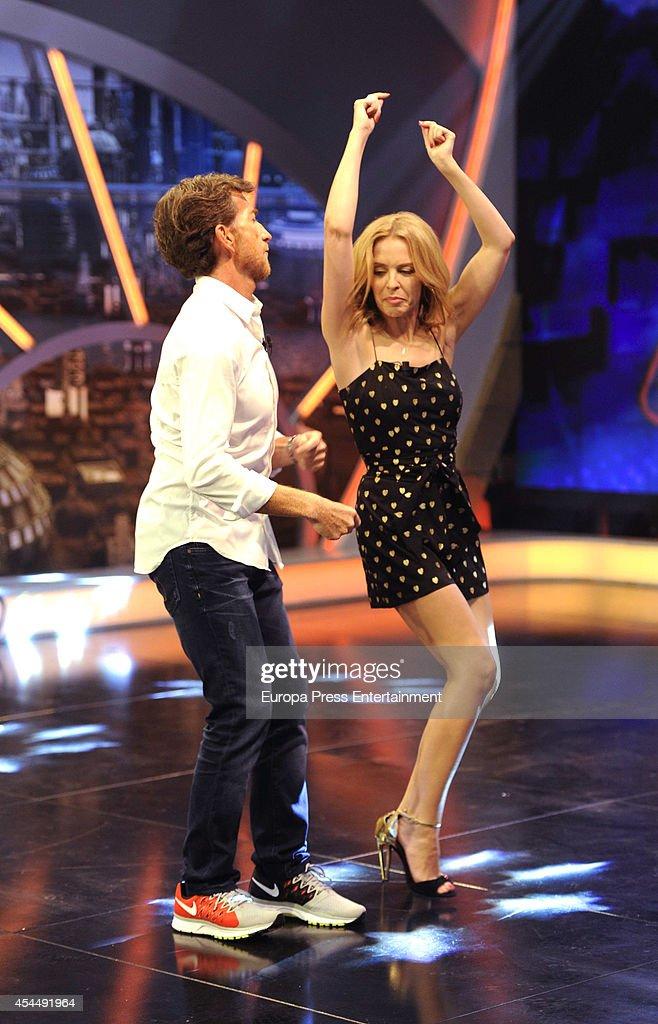 Tv presenter Pablo Motos and Kylie Minogue attend 'El Hormiguero' TV show on September 1 2014 in Madrid Spain