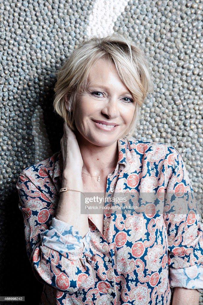 Tv presenter Sophie Davant is photographed for Paris Match on March 3, 2015 in Paris, France.