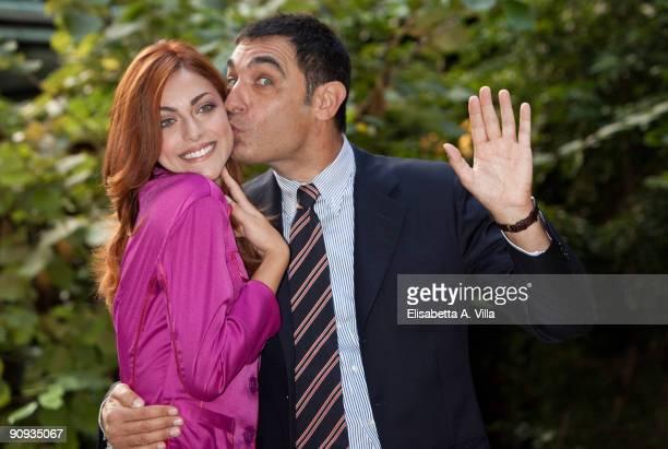 Tv presenters Miriam Leone and Tiberio Timperi attend 'Mattina In Famiglia' photocall at RAI Viale Mazzini on September 18 2009 in Rome Italy