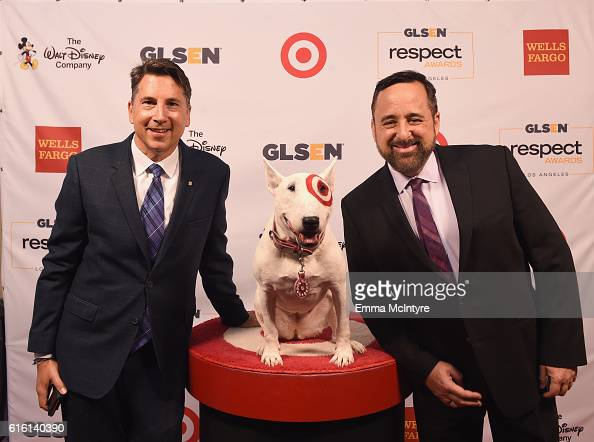 Tv producer Brad Bessey Senior VP Casting at Warner Bros Television Tony Sepulveda and Bullseye the Target Dog attend the 2016 GLSEN Respect Awards...