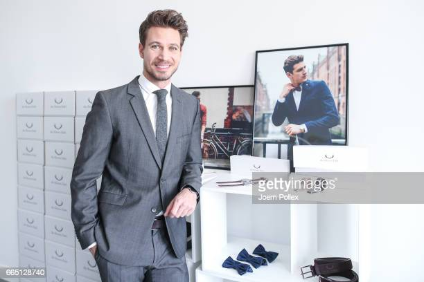 Bachelor Sebastian Pannek poses during a Photo Call of the Fashion Label 'die Herren Edel' on April 6 2017 in Hamburg Germany Sebastian Pannek has...