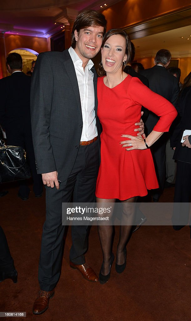 TV-host Kim Heinzelmann and Sebastian Orth attend the Best Brands 2013 Gala at Bayerischer Hof on February 6, 2013 in Munich, Germany.