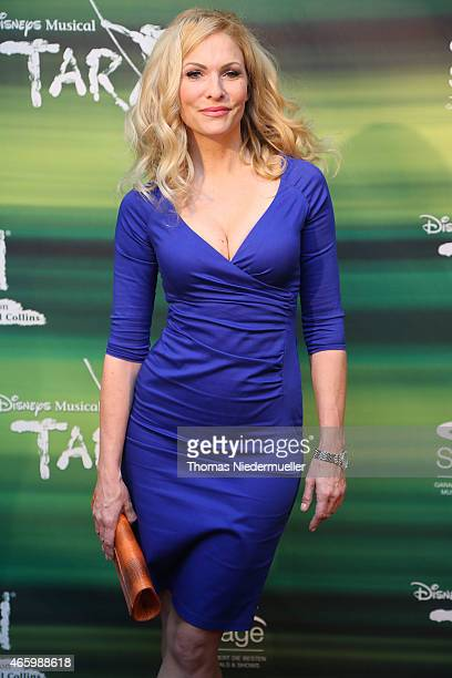 TVhost Sonya Kraus poses at the red carpet prior to the Tarzan musical charity event at Stage Apollo Theater on March 12 2015 in Stuttgart Germany
