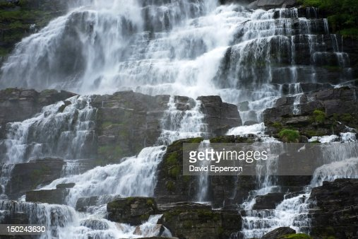 Tvinnefossen Waterfall near Voss, Norway : Bildbanksbilder
