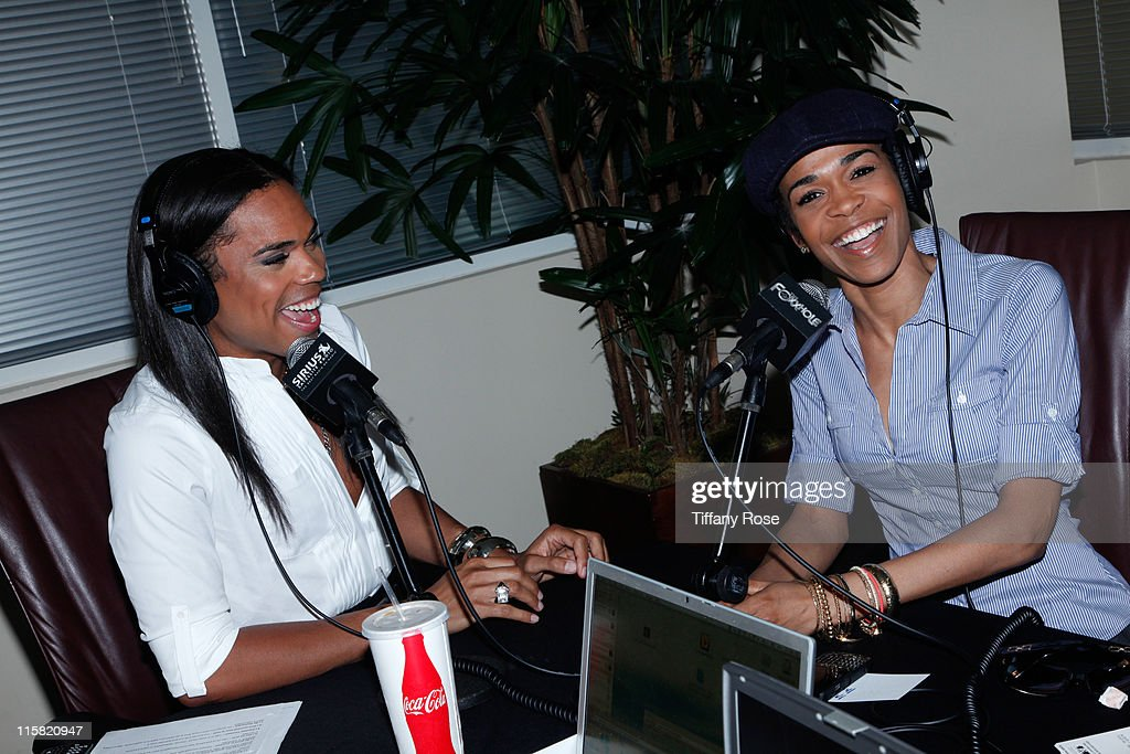 TV/internet personality B Scott and recording artist Michelle Williams launch The B Scott Show at Foxxhole Sirius/XM Radio on April 19 2010 in Los...