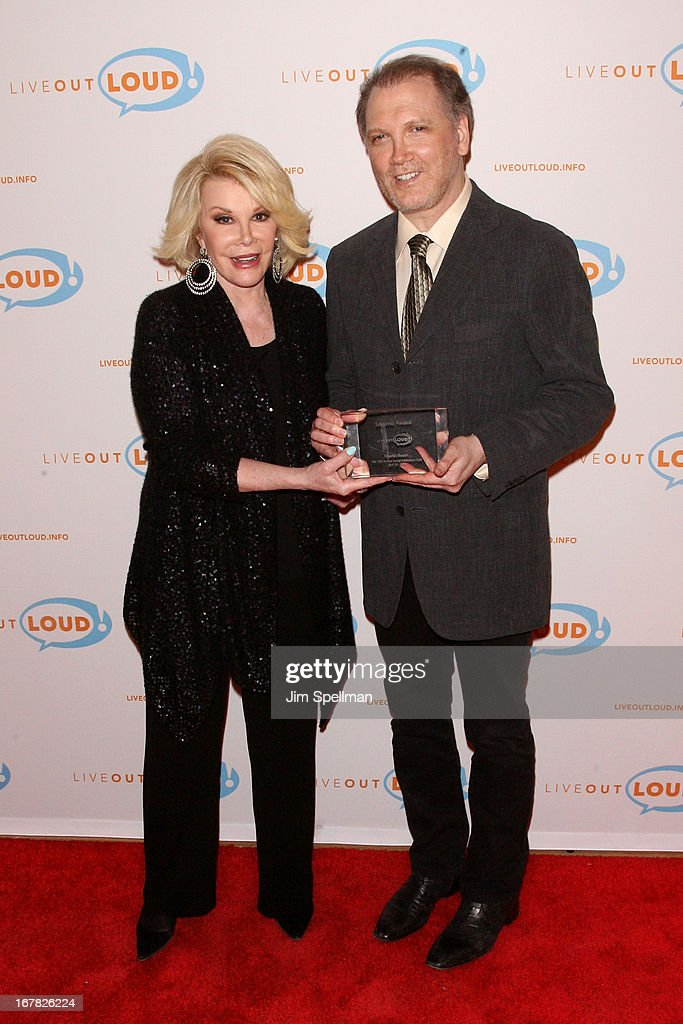 TVppersonality <a gi-track='captionPersonalityLinkClicked' href=/galleries/search?phrase=Joan+Rivers&family=editorial&specificpeople=159403 ng-click='$event.stopPropagation()'>Joan Rivers</a> and screenwriter/ playwright <a gi-track='captionPersonalityLinkClicked' href=/galleries/search?phrase=Charles+Busch&family=editorial&specificpeople=227410 ng-click='$event.stopPropagation()'>Charles Busch</a> attend the 12th Annual Live Out Loud Gala at TheTimesCenter on April 30, 2013 in New York City.