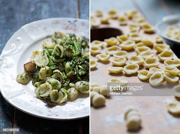 Tw Photos of Orchiette (Ear-shaped) Pasta