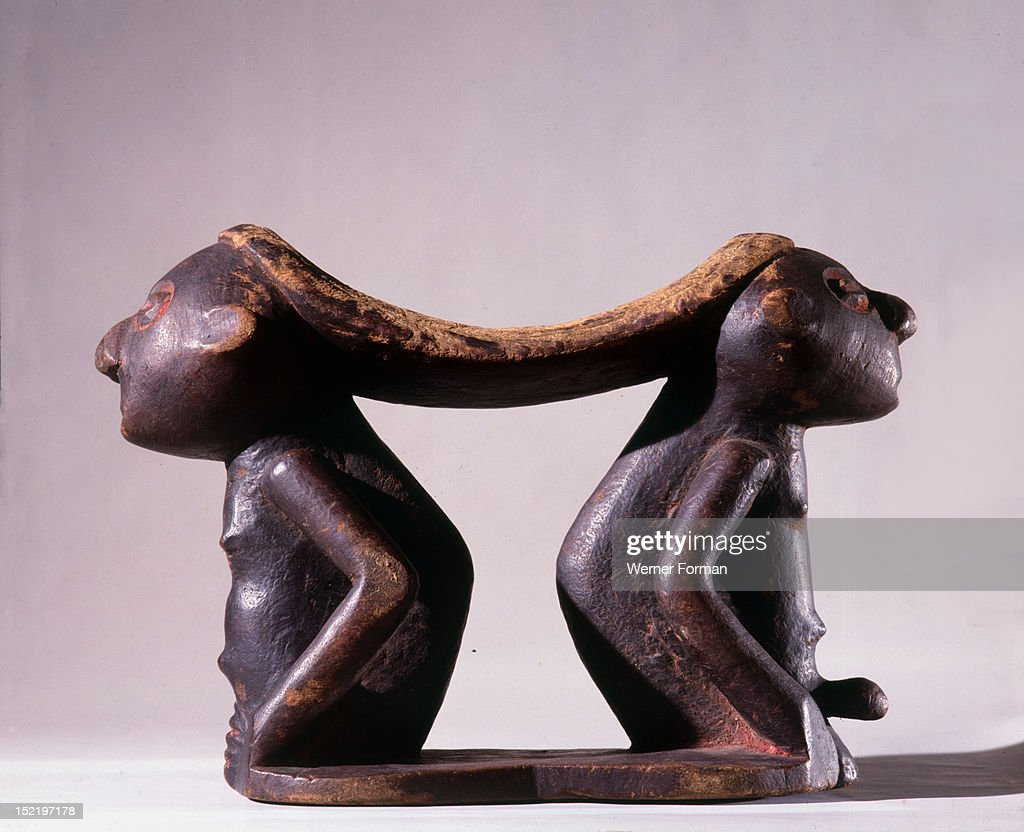 Twa pygmy headrest supported by male and female figures Democratic Republic of Congo Equatorial Africa Twa 19th 20th c Bushobbe village Kasai region