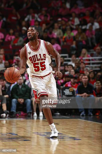 Twaun Moore of the Chicago Bulls brings the ball up court against the New Orleans Pelicans on October 12 2015 at the United Center in Chicago...