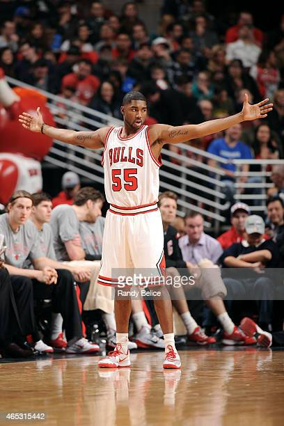 Twaun Moore of the Chicago Bulls celebrates during a game against the Oklahoma City Thunder on March 5 2015 at the United Center in Chicago Illinois...