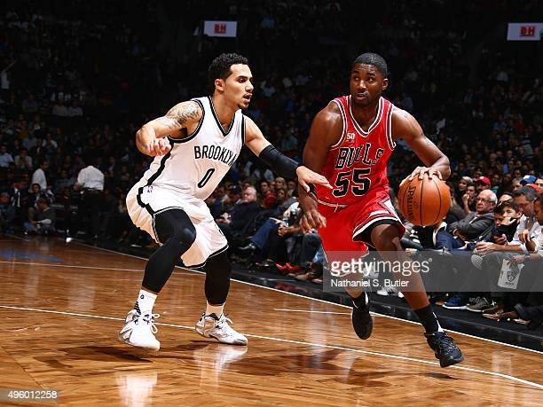 Twaun Moore of the Chicago Bulls drives against Shane Larkin of the Brooklyn Nets on October 28 2015 at Barclays Center in Brooklyn New York NOTE TO...
