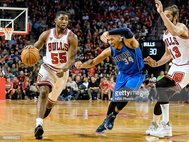 E'Twaun Moore of the Chicago Bulls handles the ball against the Dallas Mavericks on October 23 2015 at Pinnacle Bank Arena in Lincoln Nebraska NOTE...