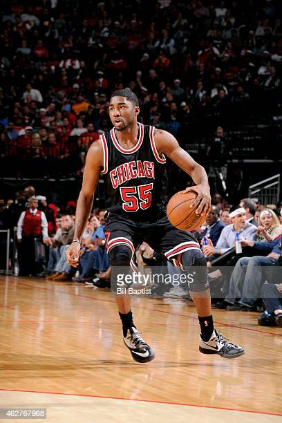 Twaun Moore of the Chicago Bulls handles the ball against the Houston Rockets on February 4 2015 at the Toyota Center in Houston Texas NOTE TO USER...