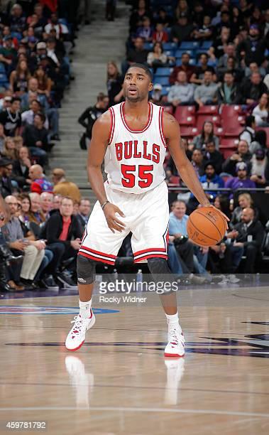 E'twaun Moore of the Chicago Bulls handles the ball against the Sacramento Kings on November 20 2014 at Sleep Train Arena in Sacramento California...