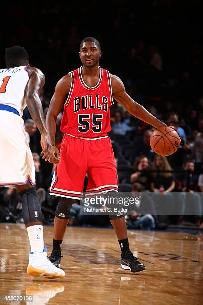 Twaun Moore of the Chicago Bulls handles the ball against the New York Knicks during a game at Madison Square Garden in New York City on October 29...