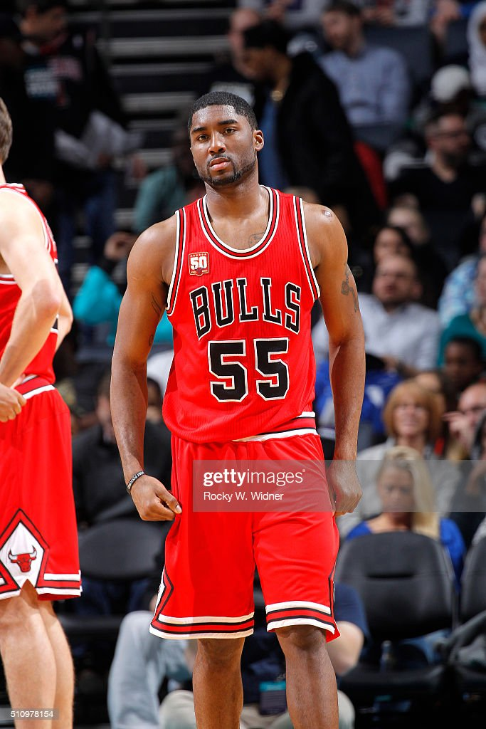 E'twaun Moore #55 of the Chicago Bulls looks on during the game against the Charlotte Hornets on Februay 8, 2016 at Time Warner Cable Arena in Charlotte, North Carolina.