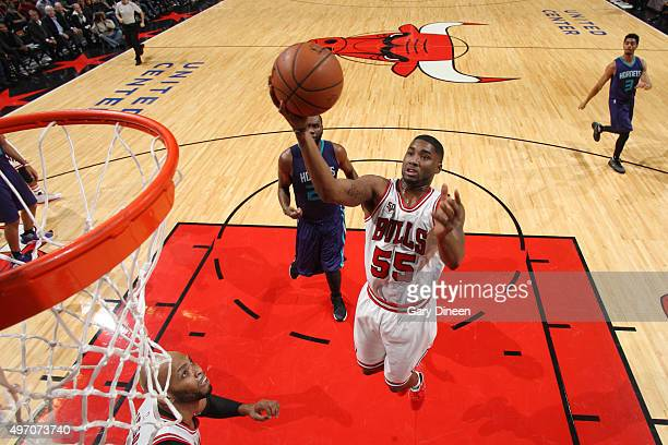 Twaun Moore of the Chicago Bulls shoots the ball against the Charlotte Hornets on November 13 2015 at the United Center in Chicago Illinois NOTE TO...