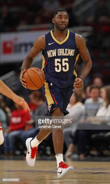 Twaun Moore of the New Orleans Pelicans brings the ball up the court against the Chicago Bulls during a preseason game at the United Center on...