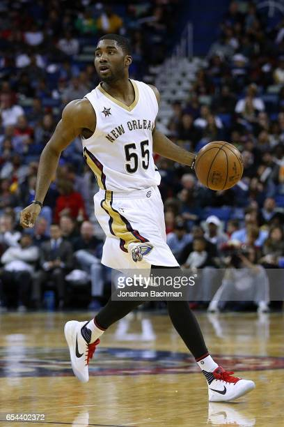Twaun Moore of the New Orleans Pelicans drives with the ball during the second half of a game against the Portland Trail Blazers at the Smoothie King...