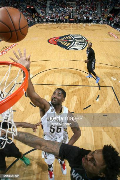 Twaun Moore of the New Orleans Pelicans goes to the basket against the Minnesota Timberwolves on March 19 2017 at the Smoothie King Center in New...