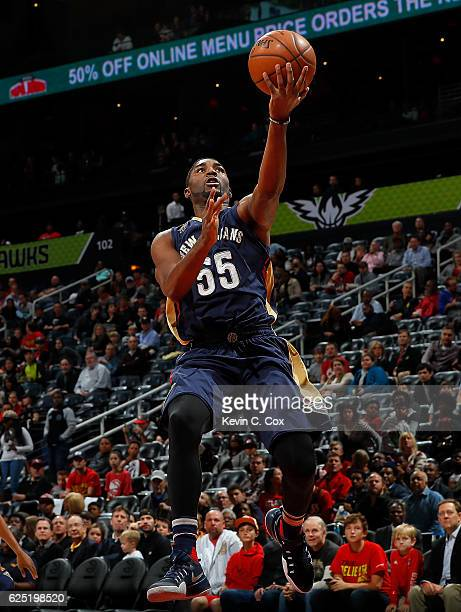 Twaun Moore of the New Orleans Pelicans lays in a basket against the Atlanta Hawks at Philips Arena on November 22 2016 in Atlanta Georgia NOTE TO...