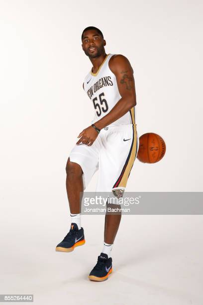 Twaun Moore of the New Orleans Pelicans poses for a portrait during media day on September 25 2017 at Smoothie King Center in New Orleans Louisiana...