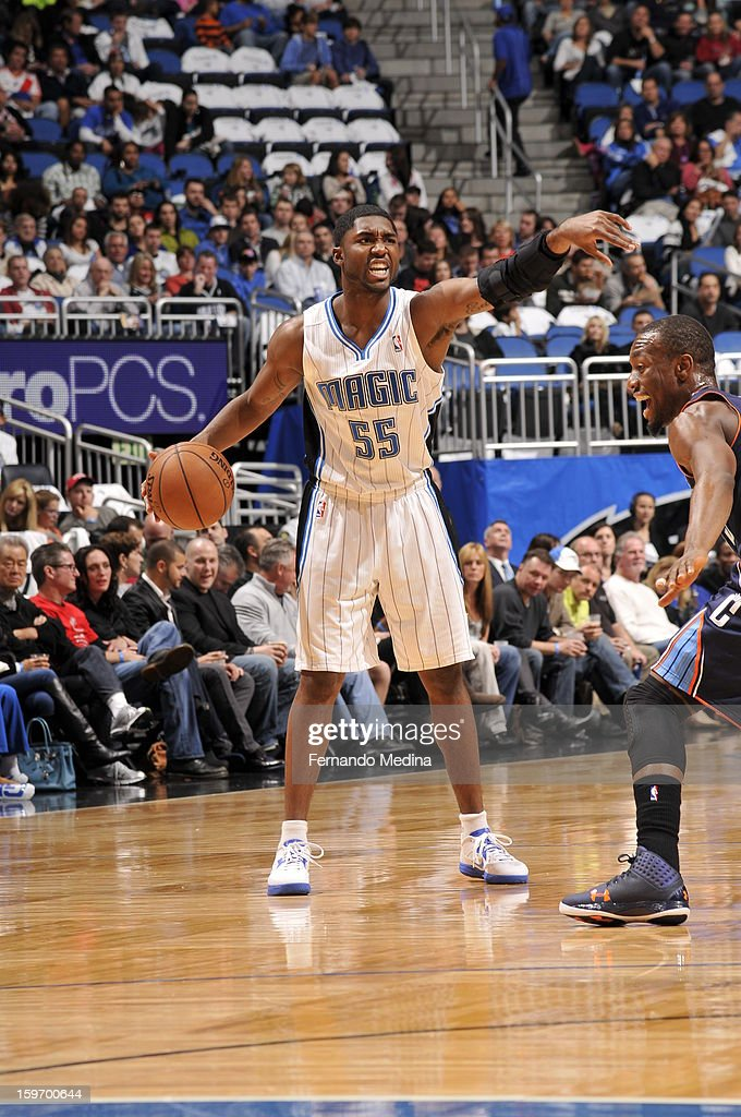 E'Twaun Moore #55 of the Orlando Magic directs his team during the game against the Charlotte Bobcats on January 18, 2013 at Amway Center in Orlando, Florida.