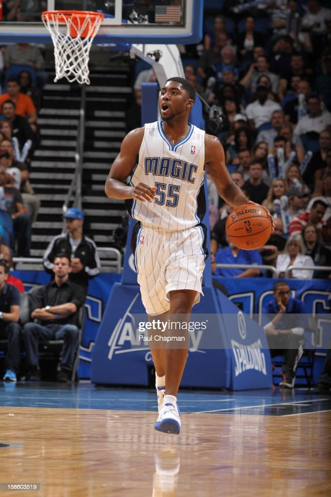 E'Twaun Moore #55 of the Orlando Magic dribbles the ball up court against the Atlanta Hawks on December 12, 2012 at Amway Center in Orlando, Florida.