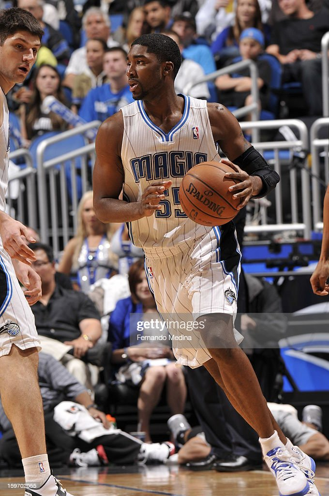 E'Twaun Moore #55 of the Orlando Magic drives against the Charlotte Bobcats on January 18, 2013 at Amway Center in Orlando, Florida.