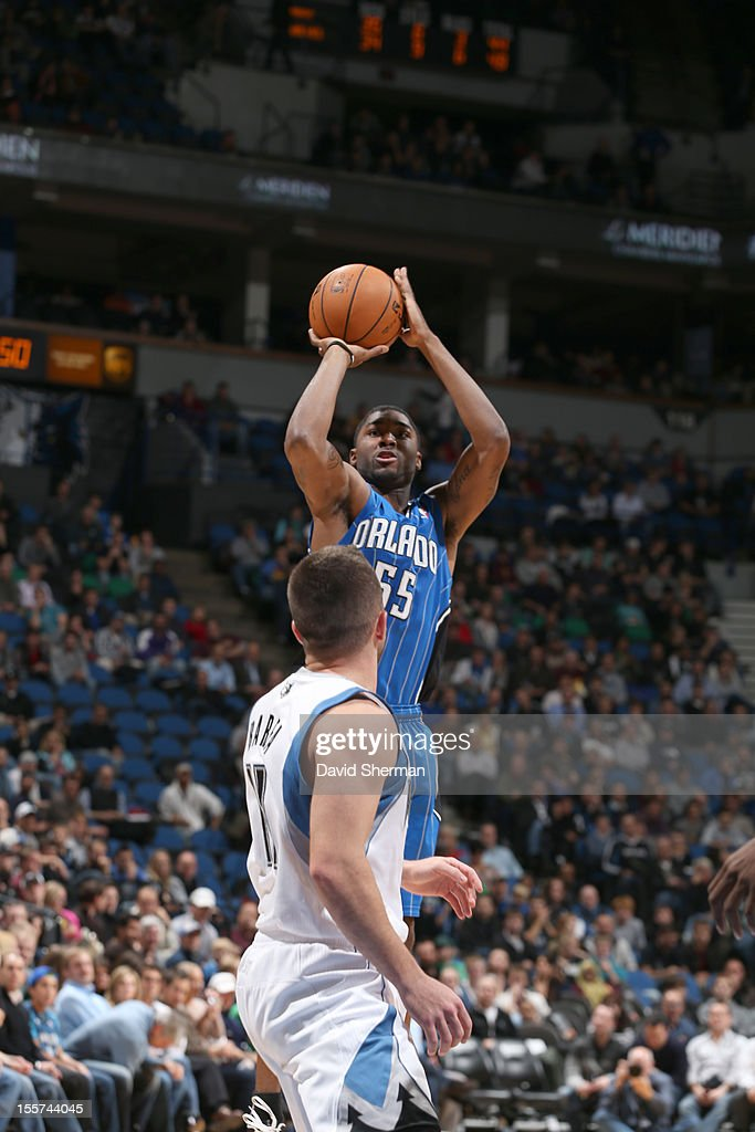 E'Twaun Moore #55 of the Orlando Magic goes for a jump shot during the game between the Minnesota Timberwolves and the Orlando Magic on November 7, 2012 at Target Center in Minneapolis, Minnesota.