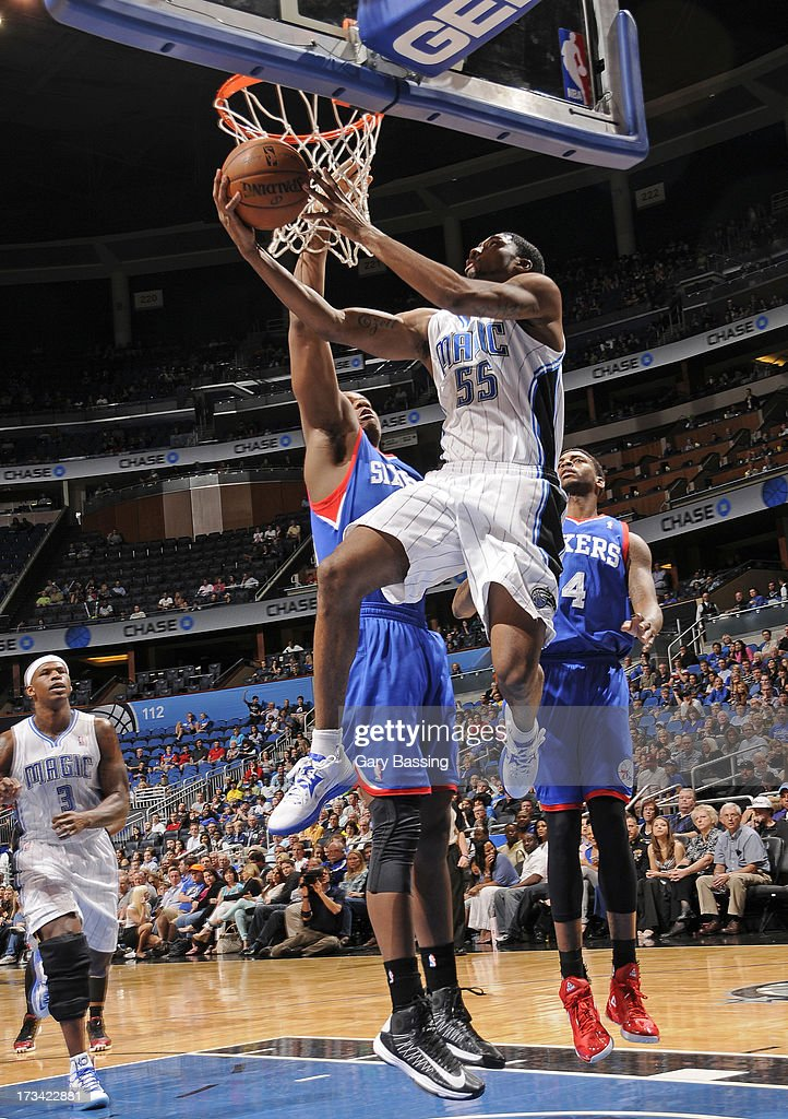 E'Twaun Moore #55 of the Orlando Magic goes to the basket during the game between the Philadelphia 76ers and the Orlando Magic on March 10, 2013 at Amway Center in Orlando, Florida.