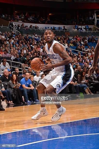 Twaun Moore of the Orlando Magic goes up for the layup against the Utah Jazz during the game on December 18 2013 at Amway Center in Orlando Florida...
