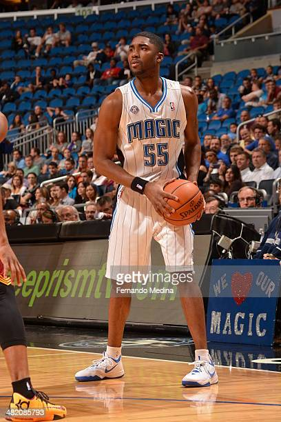 Twaun Moore of the Orlando Magic looks to pass the ball against the Cleveland Cavaliers during the game on April 2 2014 at Amway Center in Orlando...