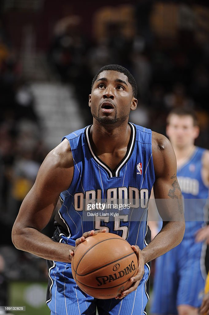 E'Twaun Moore #55 of the Orlando Magic shoots a free throw during the game against the Cleveland Cavaliers at The Quicken Loans Arena on April 7, 2013 in Cleveland, Ohio.