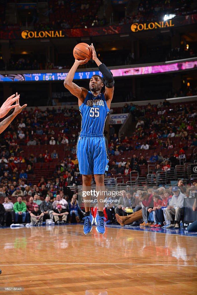 E'Twaun Moore #55 of the Orlando Magic shoots a jumper against the Philadelphia 76ers at the Wells Fargo Center on February 4, 2013 in Philadelphia, Pennsylvania.