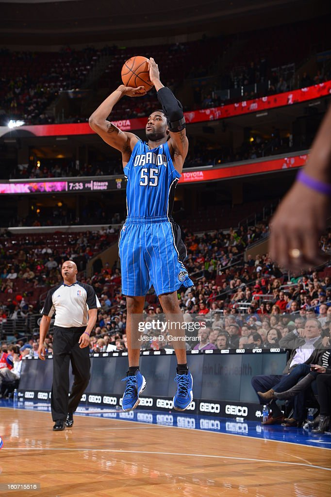 E'Twaun Moore #55 of the Orlando Magic shoots a jumper against the Philadelphia 76ers at the Wells Fargo Center on February 4, 2013 in Philadelphia, Pennsylvania.