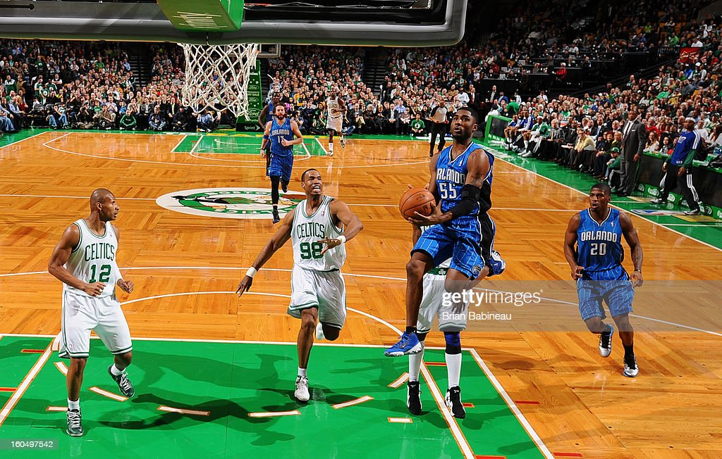 E'Twayn Moore #55 of the Orlando Magic goes to the basket against the Boston Celtics on February 1, 2013 at the TD Garden in Boston, Massachusetts.
